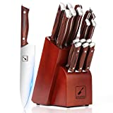 Japanese Knife Set, imarku 16-Piece Professional Kitchen Knife Set with Block, Chef Knife Set with knife rod, German Stainless Steel Kitchen Knives