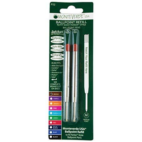 Monteverde P132BN Sanfte Kugelschreiber-Mine Parker Geeignet für Rechts-/Linkshänder braun