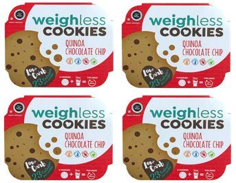 Weighless Cookies - Healthy, Gluten Free, Low Carb, Only 23 Calories Per Cookie, (4 Cookies In Each Pack) (Chocolate Chip)