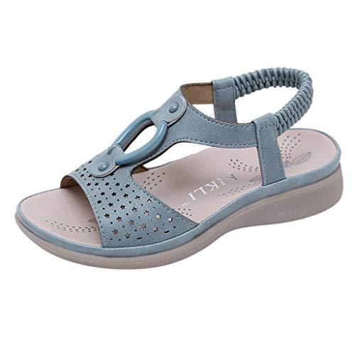WEXCV Kinder Mädchen Sommer Elegant Süß Bohemien Einfarbig Outdoor Strand Stilvoll Licht Anti-Rutsch-Weiche Sandalen Prinzessin Schuhe