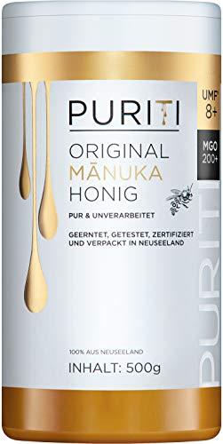PURITI Manuka-Honig MGO 200+ 500g aus Neuseeland - zertifiziert, laborgeprüft, reines Naturprodukt, frei von Zusatzstoffen, Premium Qualität