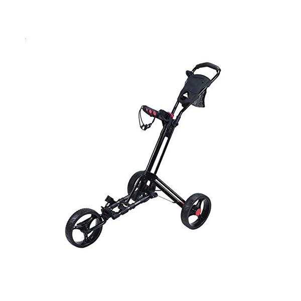 YUHT-Chariot-de-Golf–3-Roues-voiturette-de-Golf-voiturette-de-Golf-tri-Chariot-Pliable-avec-Porte-Parapluie-et-Porte-gobelet-Chariot-de-Golf-Manuel–PousserTirer-Chariot-de-Golf-Noir