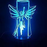 giyiohok Game Overwatch Hero Mercy 3D lmpara colorida con holograma de control remoto a batera Efecto de luz visual USB LED lmpara de luz nocturna para el da de San Valentn