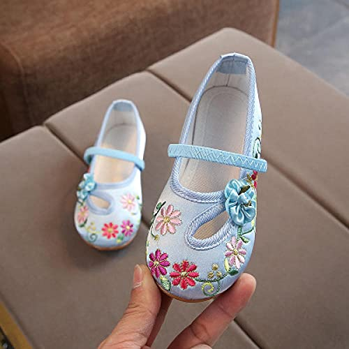 Zapatos Bordados para Mujeres Estilo Niñas Cómodas Comfort Algodón Ballet Ballet Pisos Niños Suave Mary Janes Niños Escuela de niños Zapatos de Baile Tacones Bordados Linyn