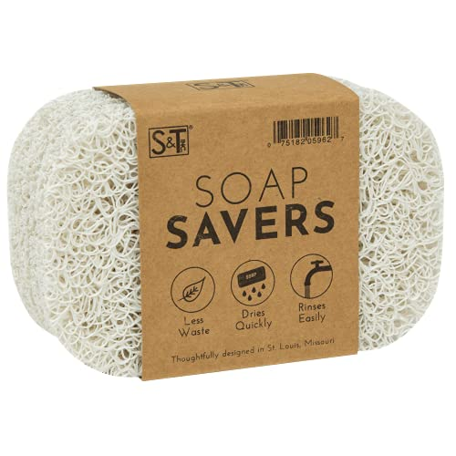 S&T INC. 596201 BPA Free Soap Saver for Kitchen and Bathroom, White, 4pk