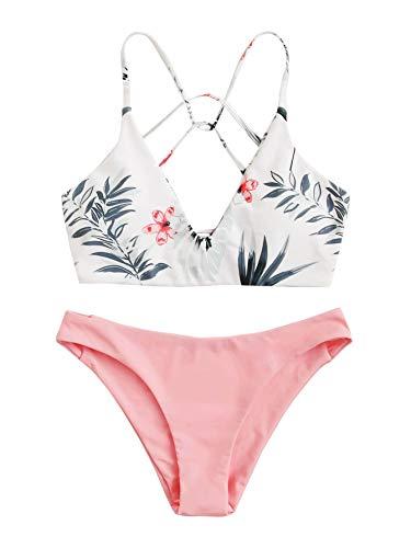 SweatyRocks Women's Sexy Bathing Suit Tropical Print Cross Back Bikini Set Swimsuits White Pink M.
