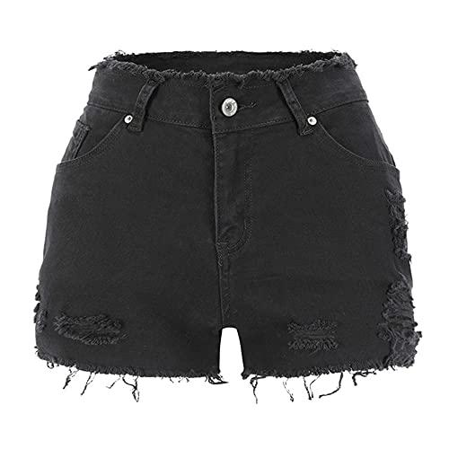 N\P Pantalones cortos de mezclilla rasgados para mujer de tiro medio deshilachado dobladillo elástico