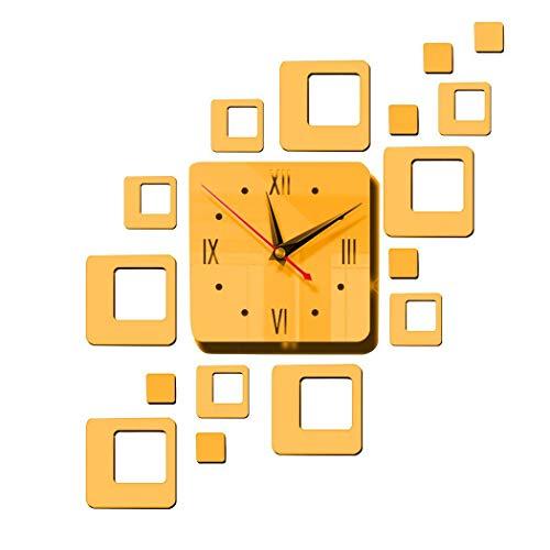 Tiowea Startspage Sticker mural décoratif en acrylique avec miroir et horloge, or, 385x445mm