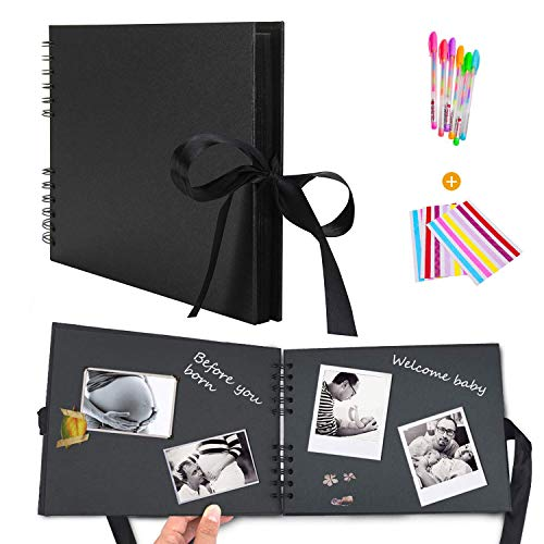 Hossom Album Photo Scrapbooking (80 Pages, 40 Feuilles) Fait à la Main DIY Album Craft Paper, Mémoire Livre Livre d'or de Mariage - Cadeau pour Un Souvenir D'amour, Amis, Famille, Enfants (Noir)