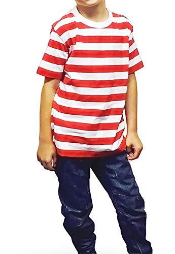 New Angies Bambini Bambini Unisex Rosso & Bianco A Strisce T-shirt A Strisce Scuola Mostra libro settimana Casual Estate Top rosso/bianco. 5-6 Anni