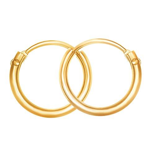 EDELWEISS Pendientes de Aro Para Mujer Oro amarillo 375 — Aros Pendientes Oro 9K, diámetro 11 mm, ancho 1.3 mm