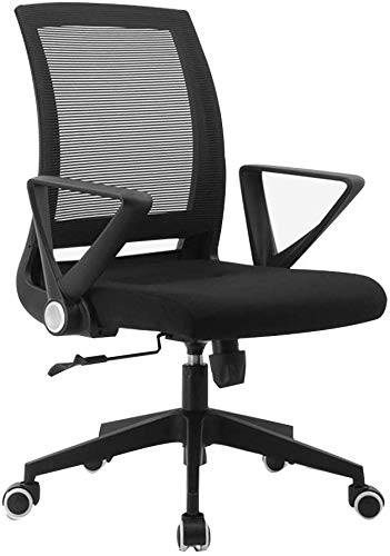 office chair Fhw Lumbar Support Desk Computer Ergonomic Mesh Adjustable Positioning- Pneumatic Thick Sponge Mesh (Color : Black)
