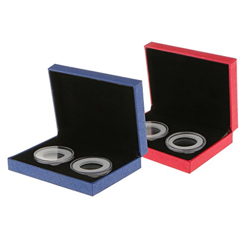 perfeclan Estuche para Monedas de 2 Piezas para Caja de Presentación de Monedas de 40 Mm con Colección de Cápsulas Transparentes Dobles