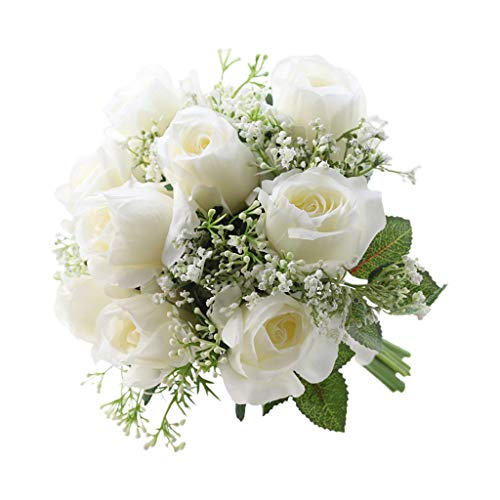 UYT Artificial Flower Roses with Babysbreath Leaves Realistic Wedding Bridal Bouquet