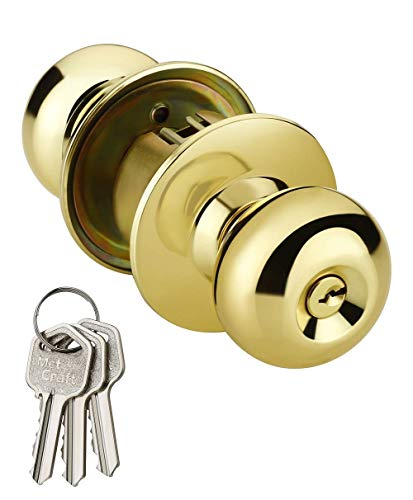 Met Craft MCAH-587-PB-ET Cylindrical Latch Door Lock With 3 Simple Keys (Gold, Glossy Finish)