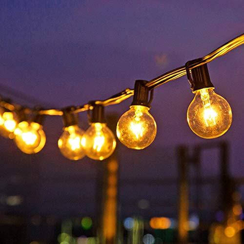 Ibello Outdoor Garden String Lights 28ft G40 25 Bulbs+2 Spare Indoor Waterproof IP44 Mains Powered Perfect for Patio Backyard Party Weeding Xmas