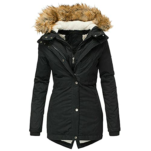 Chaqueta de invierno para mujer, larga, de algodón, abrigo de invierno, grande, monocolor, de manga larga, ligera, plegable, cortavientos, con bolsillos con cremallera, chaqueta de algodón