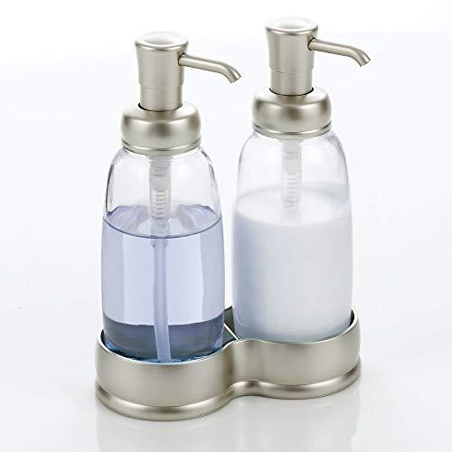 mDesign Dispensador doble de jabón – Elegantes dosificadores de baño en vidrio – Dosificador de jabón, loción y crema de manos recargable – transparente y plateado mate