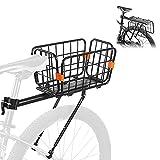 WESTLIGHT 2 in 1 Bike Cargo Rack with Bike Basket, Adjustable Quick Release Bike Rear Rack, 121 LBS Capacity Bike Luggage Carrier, Aluminum Alloy Bicycle Rack with Bungee Cord