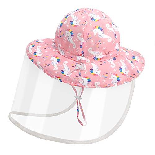 Kids Sun Visor Hat with Detachable Transparent Flap Protective Fishing Hat Boys Girls Wide Brim Bucket Hat