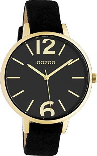 Oozoo Damenuhr mit Lederband 38 MM Gold/Schwarz C10439