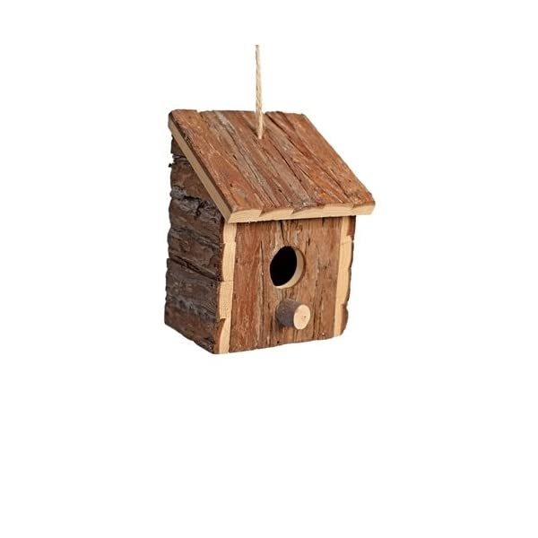 Heritage 20833 Rustic Round Wooden Nesting Nest Box Bird House Small Birds Blue Tit Robin Sparrow