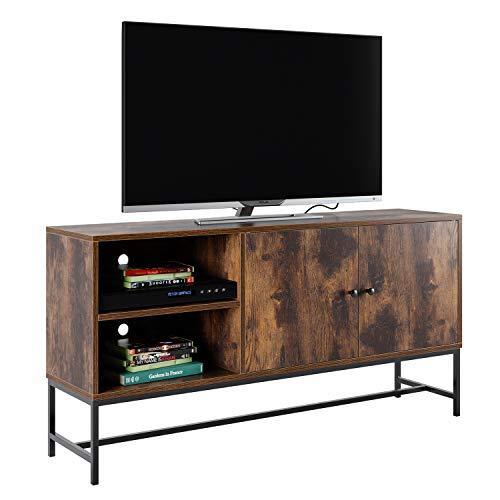 Homfa Fernsehtisch TV Regal TV Schrank TV Tisch TV Möbel TV Lowboard TV Board mit Schrank und 2 Regalebenen Fernsehschrank Wohnzimmertisch Vintage Holz Metell Industrie-Design 120x30x60.3cm