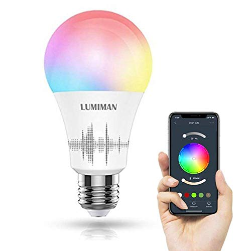 LUMIMAN WiFi Smart LED Light Bulb Multicolor, Compatible with Alexa and Google Home, No Hub Required, A19, 7 5W 70W Equivalent , LM530