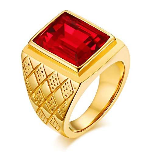 BOBIJOO JEWELRY - El Anillo De Sellar El Hombre Rojo De La Piedra De Imitación De Ruby Royal Cardinal De La Vendimia De Acero De Oro - 22 (10 US), Dorado - Acero Inoxidable 316