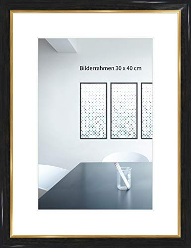 WANDStyle Bilderrahmen Klassisch 42x60cm DIN A2 I Farbe: Anthrazit mit Goldkante I Fotorahmen I einfacher Holzbilderrahmen I Made in Germany I H383