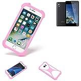K-S-Trade® Handyhülle Für Kazam Trooper 2 6.0 Schutzhülle Bumper Silikon Schutz Hülle Cover Case Silikoncase Silikonbumper TPU Softcase Smartphone, Pink (1x)
