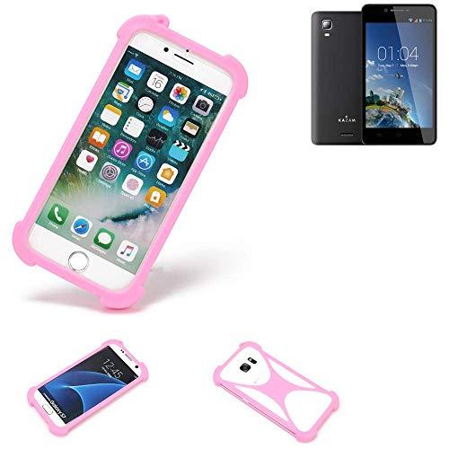 K-S-Trade Handyhülle Kompatibel Mit Kazam Trooper 2 6.0 Schutzhülle Bumper Silikon Schutz Hülle Cover Case Silikoncase Silikonbumper TPU Softcase Smartphone, Pink (1x)