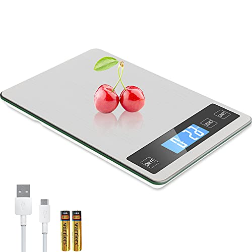 Zibet Rechargeable 33lb/15kg Digital Food Scale Kitchen Scale,1g/0.1oz Precise Graduation,5 Units,Tare Function,Backlit LCD Display,Stainless Steel and Tempered Glass