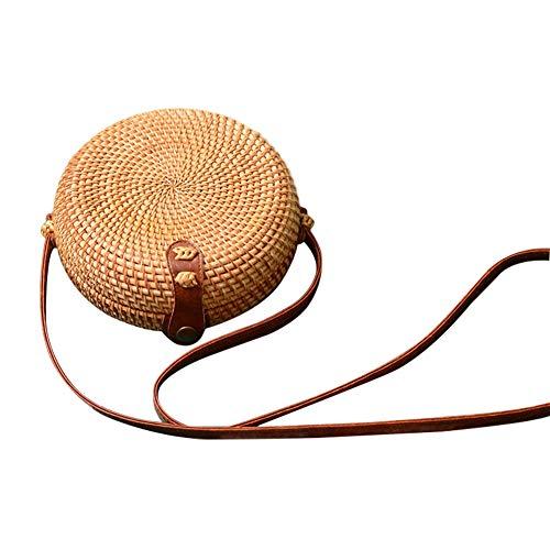 Haodou Stroh Handtasche Frauen Stroh Strandtasche Gelb Rattan Tasche Schnalle Stil Böhmen Handgefertigt Stroh Crossbody geflochtene Tasche zum Strand Reise (rund-18 * 7cm)