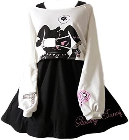Cute Dress For Teens Girl Two Piece Set Bunny Prints Casual Cotton Dresses For Spring Autumn product image