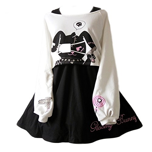 Cute Dress for Teens Girl Two Piece Set Bunny Prints Casual Cotton Dresses for Spring Autumn (M) Black White