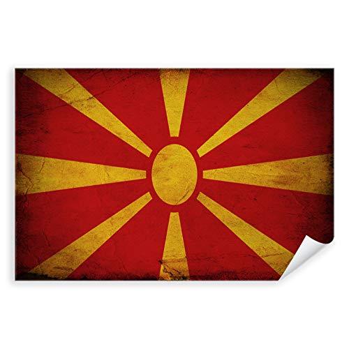 Postereck - 0328 - Vintage Flagge, Fahne Nordmazedonien Skopje - Unterricht Klassenzimmer Schule Wandposter Fotoposter Bilder Wandbild Wandbilder - Leinwand - 100,0 cm x 75,0 cm