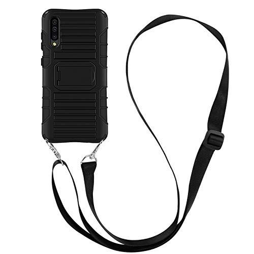 JammyLizarD Outdoor Hülle kompatibel mit Samsung Galaxy A50 2019 Schutzhülle mit Handyband [Taurus] Doppelschutz Hardcase Silikon TPU Skin, Schwarz