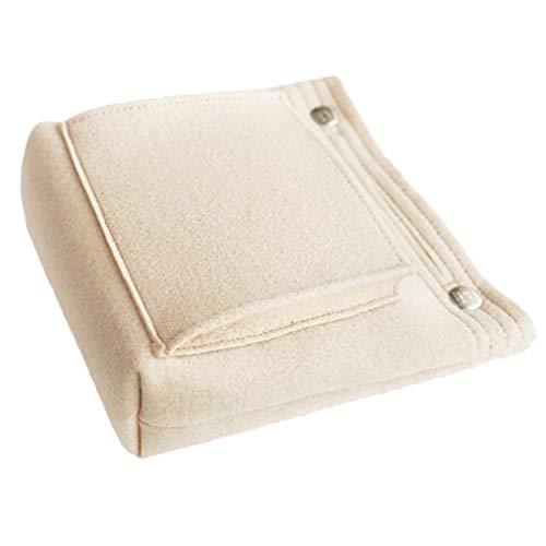 Pinhan Felt Cosmetic Bag Remplacement de Portefeuille Porte-Monnaie Zipper Mini Coin Sac de Maquillage pour Dames, crème-Blanc