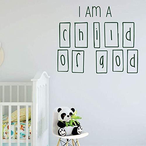 ASFGA Wörter Wandtattoos Ich Bin Gottes Kind Kinderzimmer Babyzimmer Kinderzimmer Wohnkultur Reichtum Türen und Fenster Vinyl Aufkleber Tapete