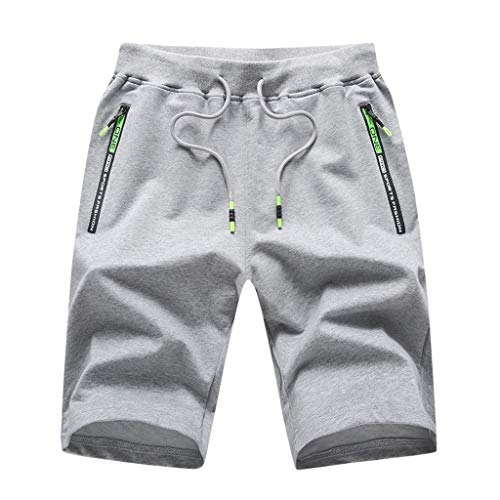 Sopzxclim Men's Big and Tall Sweat Shorts Side Pockets Gym Workout Hiking Athletic Shorts Outdoor Jogger Shorts M-5Xl Gray