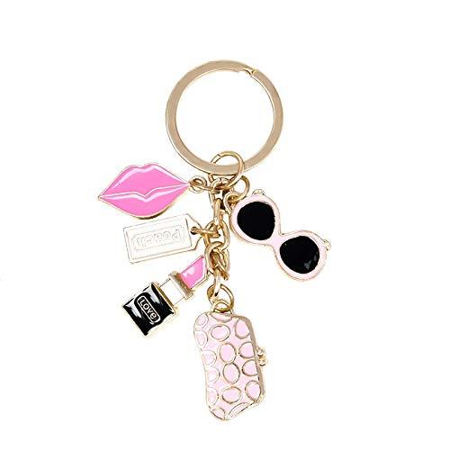 Afairy Moda Llavero Gafas Billetera Labios Labios Accesorios Llavero llaveros llaveros para Mujer (Color : A)