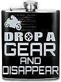 Flasche für Alkohol, Motorrad Drop A Gear und verschwinden Edelstahlflasche personalisierte Flasche...