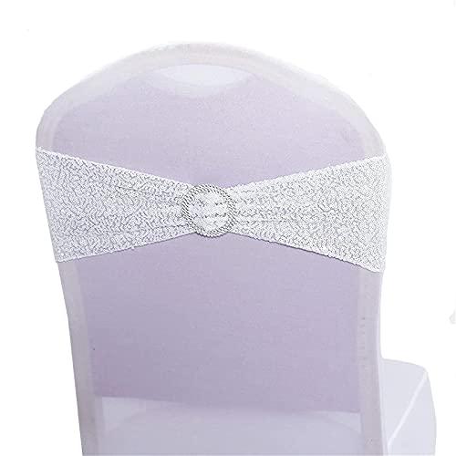 Sillas elásticas de lentejuelas para silla, bandas elásticas de licra para bodas, recepciones, eventos, banquetes, sillas de hotel, decoración (blanco, 20)