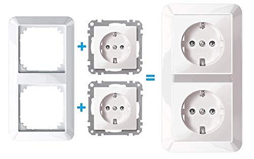 Merten Komplettset - 2 x Steckdose System M, inkl. 2 fach 389219 1-M Rahmen polarweiß glänzend