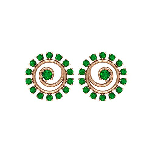 Rosec Jewels 18 quilates oro rosa redonda Green Emerald
