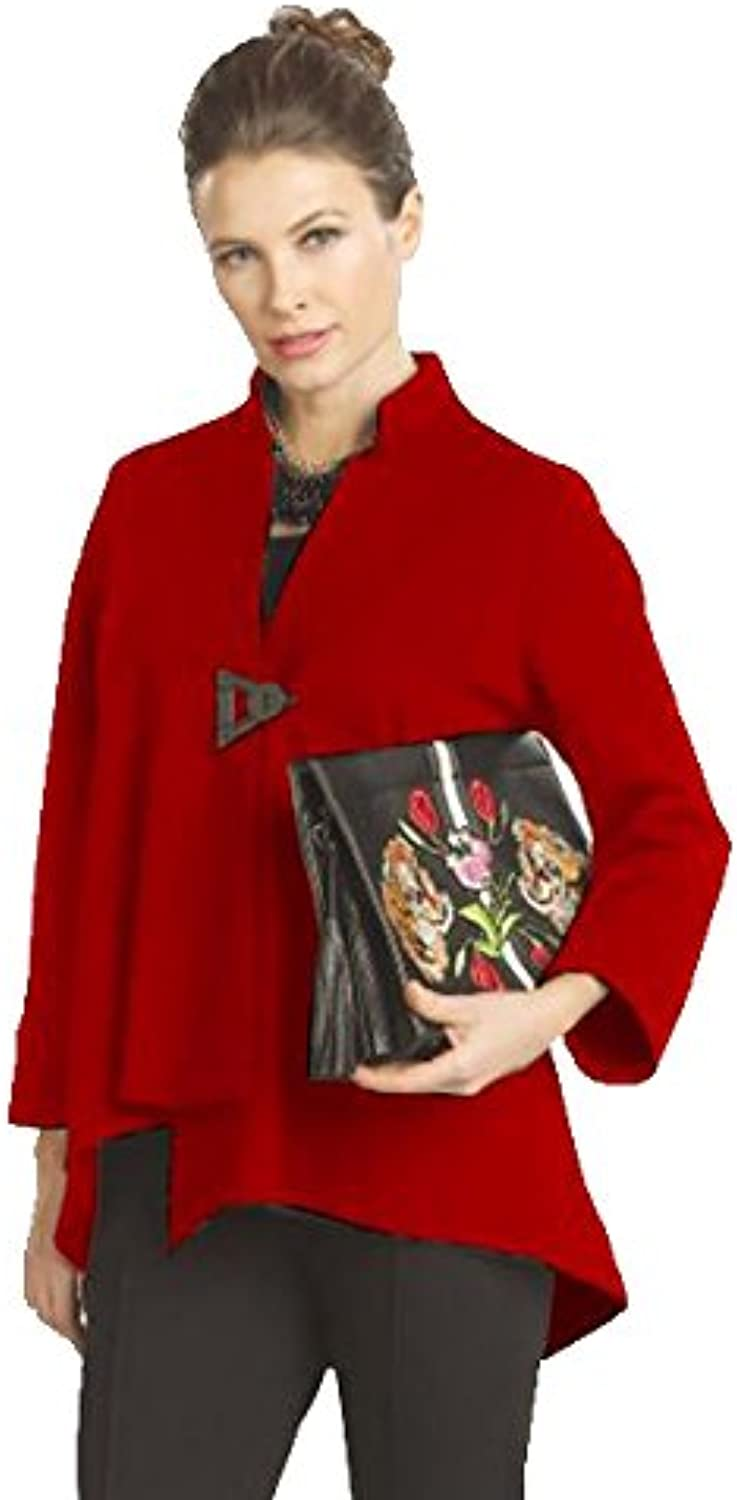 IC Collection Solid Asymmetric Jacket in Red  9191