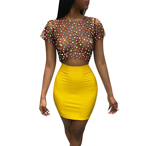 Women Two Pieces Outfit Evening Party Clubwear Polka Dot Sheer Tops Bodycon Mini Skirt Sets (Yellow, XL)