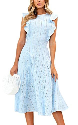 ECOWISH Womens Dresses Elegant Wedding Cocktail Ruffles Cap Sleeves Summer A-Line Midi Dress Blue Large