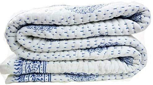 Sophia-Art Couvre-lit indien traditionnel fabriqué à la main en coton Kantha ethnique, hippie, floral, couvre-lit indien, bohème, housse de lit blanche (bleu, 274 x 274 cm)